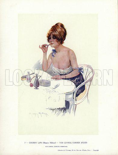 Semi-naked woman putting lipstick on. Illustration from Paris Girls (Librairie de l'Estampe, Paris, 1917).