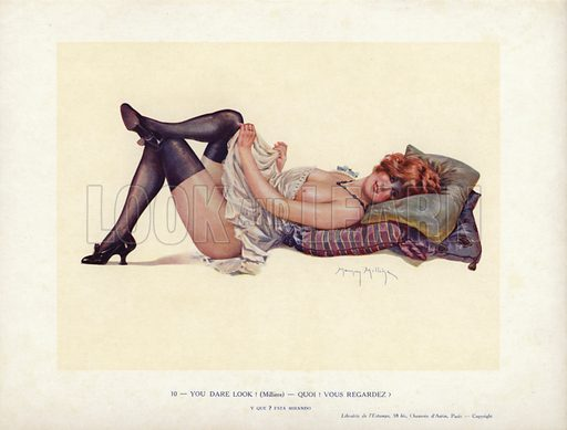 Semi-naked woman laying in a suggestive pose. Illustration from Paris Girls (Librairie de l'Estampe, Paris, 1917).
