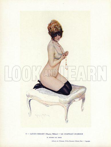 Semi-naked woman kneeling on a stool. Illustration from Paris Girls (Librairie de l'Estampe, Paris, 1917).