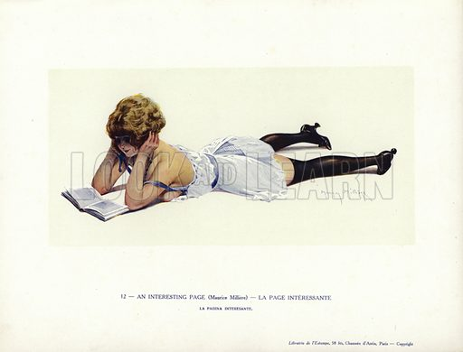 Semi-naked woman reading on the floor. Illustration from Paris Girls (Librairie de l'Estampe, Paris, 1917).