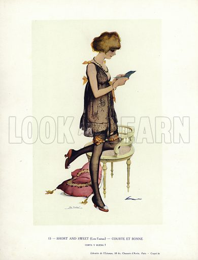 Woman in a negligee reading a book. Illustration from Paris Girls (Librairie de l'Estampe, Paris, 1917).