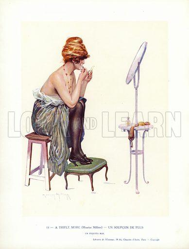 Semi-naked woman putting on lipstick. Illustration from Paris Girls (Librairie de l'Estampe, Paris, 1917).