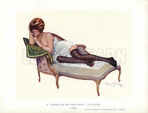 Semi-naked woman reclining on a chaise longues. Illustration from Paris Girls (Librairie de l'Estampe, Paris, 1917).