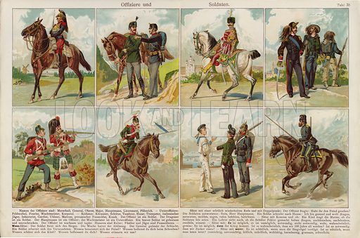 Officers and soldiers of European armies. Illustration from J Staub's Bilderbuch, Ein Buch fur Haus und Schule (Gebruder Kunzli, Zurich, 1901).