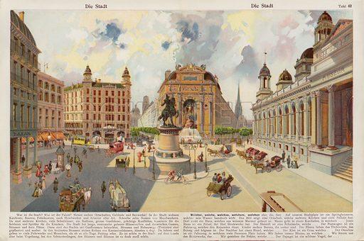 The city. Illustration from J Staub's Bilderbuch, Ein Buch fur Haus und Schule (Gebruder Kunzli, Zurich, 1901).