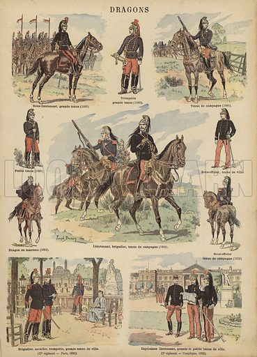 Dragoons of the French army. Illustration from Imagerie Militaires (Ancien Maison Quantin, Paris, c1892).