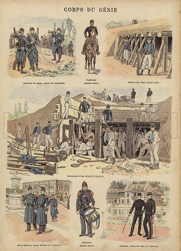 Military engineers of the French army. Illustration from Imagerie Militaires (Ancien Maison Quantin, Paris, c1892).