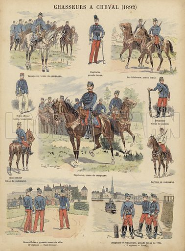 Chasseurs a cheval of the French army, 1892. Illustration from Imagerie Militaires (Ancien Maison Quantin, Paris, c1892).