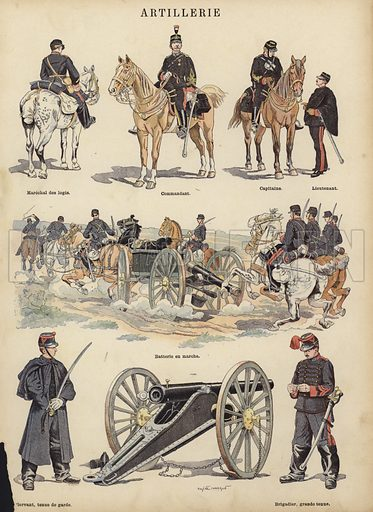 Artillery of the French army. Illustration from Imagerie Militaires (Ancien Maison Quantin, Paris, c1892).