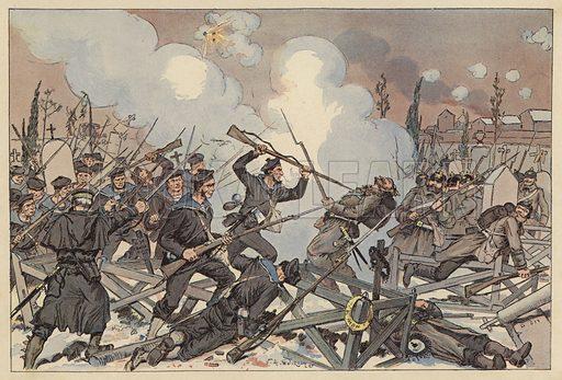 Battle of Le Bourget, Siege of Paris, Franco-Prussian War, 1870. Illustration from Imagerie Militaires (Ancien Maison Quantin, Paris, c1892).