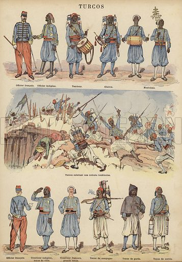 Turcos, colonial soldiers of the French army. Illustration from Imagerie Militaires (Ancien Maison Quantin, Paris, c1892).