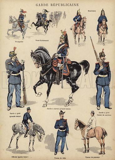 Republican Guard of the French army. Illustration from Imagerie Militaires (Ancien Maison Quantin, Paris, c1892).