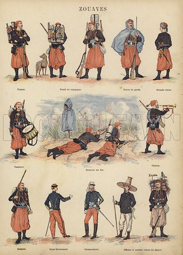 Zouaves of the French army. Illustration from Imagerie Militaires (Ancien Maison Quantin, Paris, c1892).