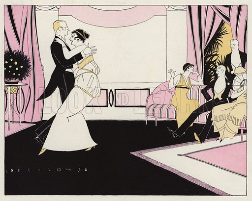 Guests at an evening party gossiping about a couple as they dance. Illustration for Judge's Magazine, 1915.