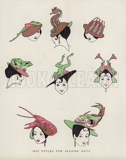 Mocking women's fashion in hats. Illustration for Judge's Magazine, 1915.