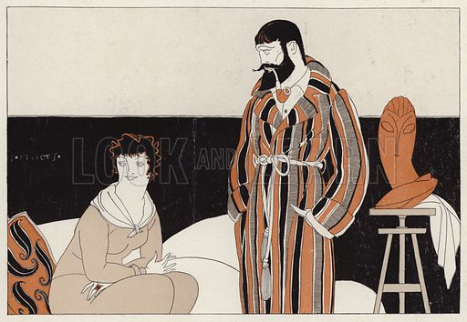 Couple mocking the coexistence of matrimony and art, a scene from the short story, A Vassal To Art, by J A Waldron. Illustration for Judge's Magazine, 1915.