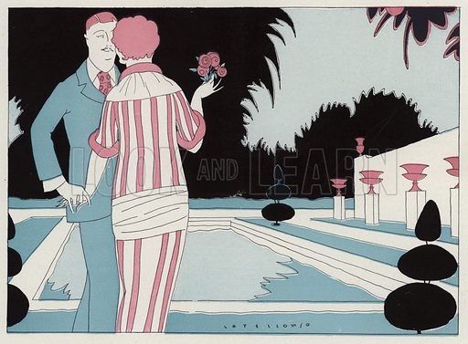Romantic couple holding hands by the pool, a scene from the short story, Prospective Honeymooners by J A Waldron. Illustration for Judge's Magazine, 1915.