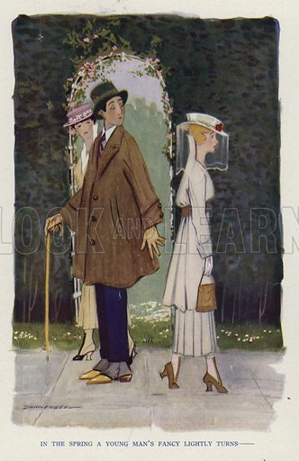 A young man admiring a young woman, a scene from the short story, A Sad Case, by Ellis O Jones. Illustration for Judge's Magazine, 1915.