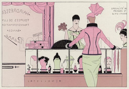A woman at a hairdressers trying to buy a wig after having her hair cut into a bob, a scene from the short story, An Embarrassing Emergency, by J A Waldron. Illustration for Judge's Magazine, 1915.
