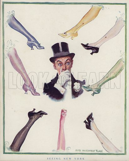 Man surrounded by women's legs. Illustration for Judge's Magazine, 1915.