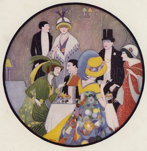 People socialising after a play, a scene from the short story, After The Play, by JA Waldron. Illustration for Judge's Magazine, 1915.