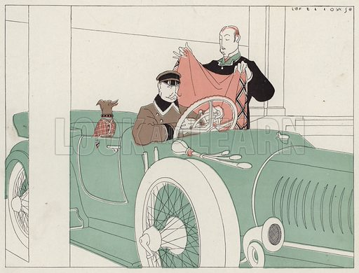 Pet dog being chauffeur driven in a car, a scene from the short story, A Very Narrow Escape, by J A Waldron. Illustration for Judge's Magazine, 1915.