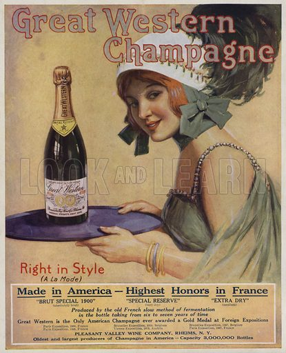 Young woman with a bottle of Champagne, advertisement for Great Western Champagne. Illustration for Judge's Magazine, 1915.