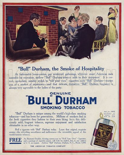 Advertisement for Bull Durham tobacco. Illustration for Judge's Magazine, 1915.