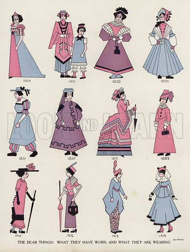 Mocking women's fashion throughout the ages. Illustration for Judge's Magazine, 1915.