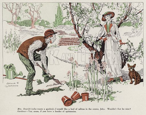 Woman and her gardener discussing the inclusion of salvias to the garden. Illustration for Judge's Magazine, 1915.