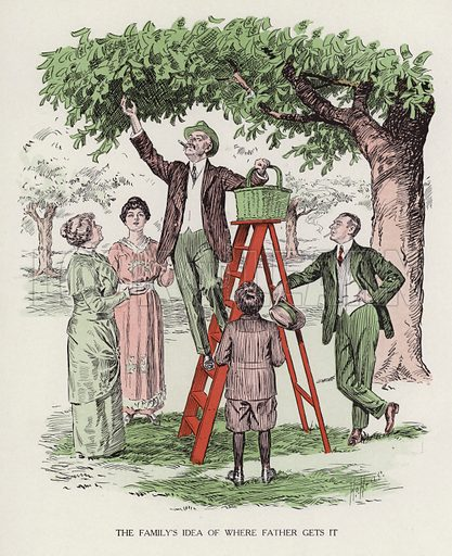 Man picking fruit from a tree while his family looks on. Illustration for Judge's Magazine, 1915.