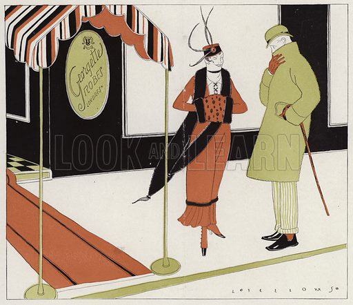 Man and woman having a conversation outside a clothes shop, a scene from the short story, Eliza's Prescription, by J A Waldron. Illustration for Judge's Magazine, 1915.