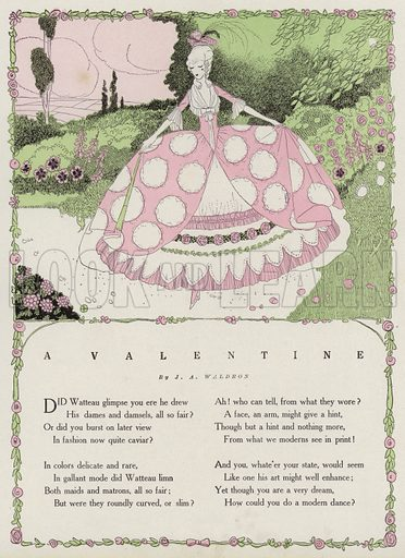 Woman in a garden, a scene from a poem, A Valentine, by J A Waldron. Illustration for Judge's Magazine, 1915.