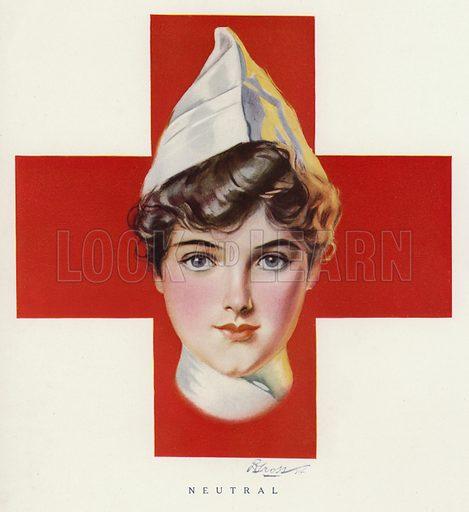 Portrait of a Red Cross nurse. Illustration for Judge's Magazine, 1915.