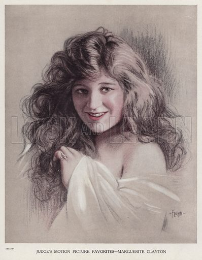 Marguerite Clayton (1891-1968), American silent film actress. Illustration for Judge's Magazine, 1915.