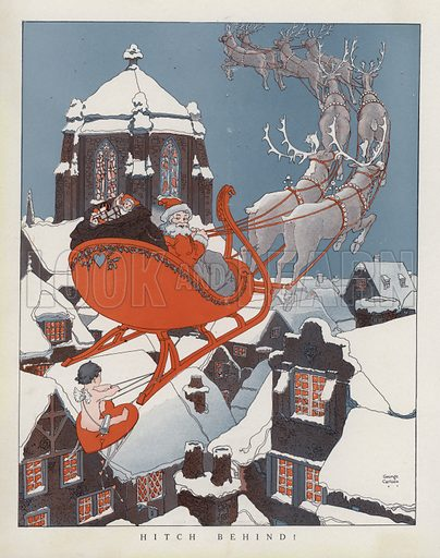 Cupid hitching a ride on Santa's sleigh. Illustration for Judge's Magazine, 1915.