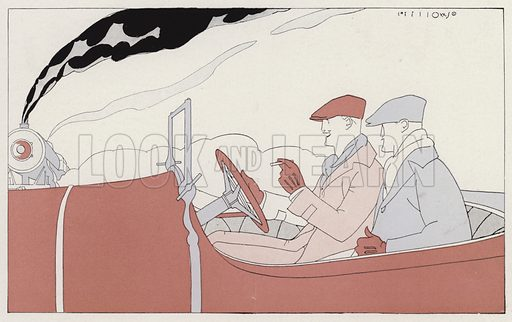Two men smoking in a car, a scene from the short story, Sentence Suspended, by JA Waldron. Illustration for Judge's Magazine, 1915.