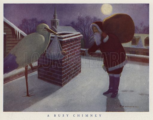 Santa with a sack full of gifts arriving at a chimney the same time as a stork carrying a baby. Illustration for Judge's Magazine, 1915.