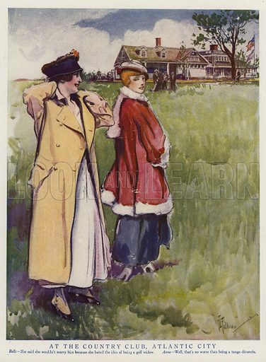 Two women at a country club in Atlantic City, New Jersey. Illustration for Judge's Magazine, 1915.