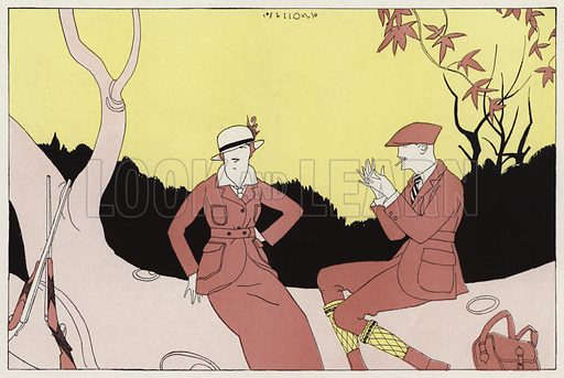 Chance meeting of a once married couple, a scene from the short story, A Chance Meeting, by JA Waldron. Illustration for Judge's Magazine, 1915.