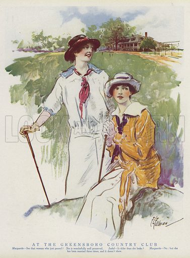 Two women at the Greensboro Country Club, North Carolina, mocking marriage. Illustration for Judge's Magazine, 1915.