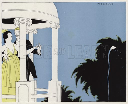 Couple dancing under a pergola, a scene from the short story, A Bit of Bohemia, by JA Waldron. Illustration for Judge's Magazine, 1915.