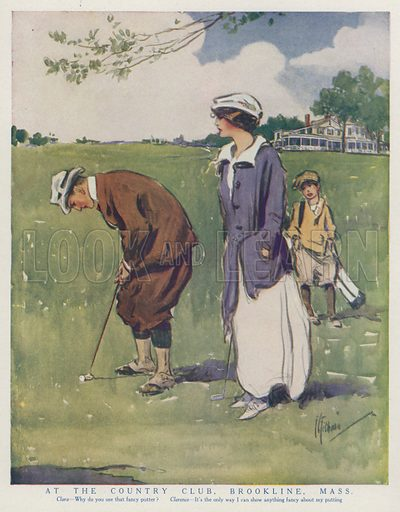 Couple putting on the golf course at the Brookline Country Club, Massachusetts. Illustration for Judge's Magazine, 1915.