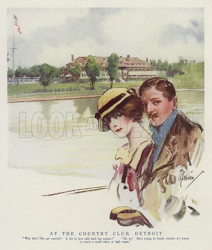 Young woman and one of her suitors at the Country Club in Detroit, Michigan. Illustration for Judge's Magazine, 1915.