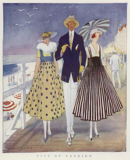 Mocking the fashions of men and women. Illustration for Judge's Magazine, 1915.