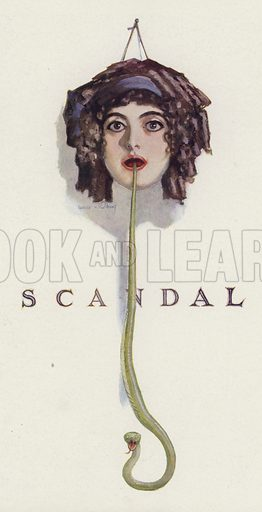 Scandal: snake coming out of the mouth of a woman. Illustration for Judge's Magazine, 1915.