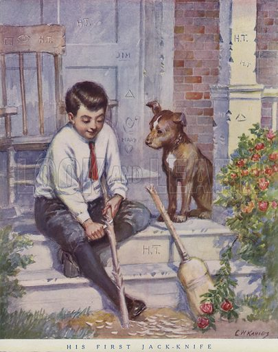 Boy carving a stick with his knife while his pet dog looks on. Illustration for Judge's Magazine, 1915.