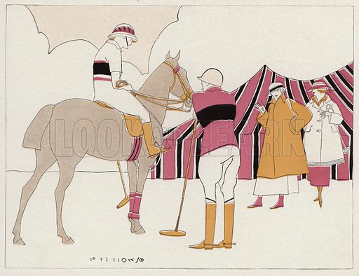 Two couples at the polo club, a scene from the short story, A Vassal To Art, by J A Waldron. Illustration for Judge's Magazine, 1915.