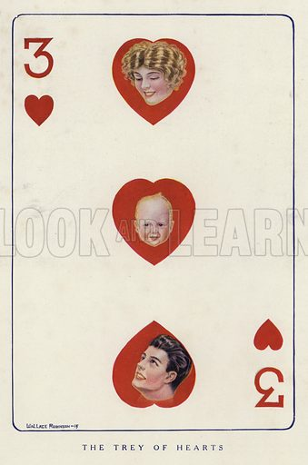 Man, woman and baby shown on a three of hearts playing card. Illustration for Judge's Magazine, 1915.