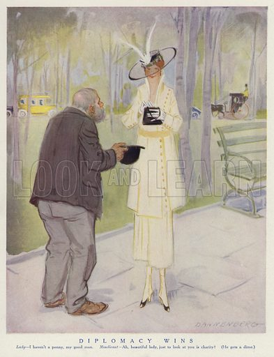 Beggar flattering a wealthy woman for money. Illustration for Judge's Magazine, 1915.